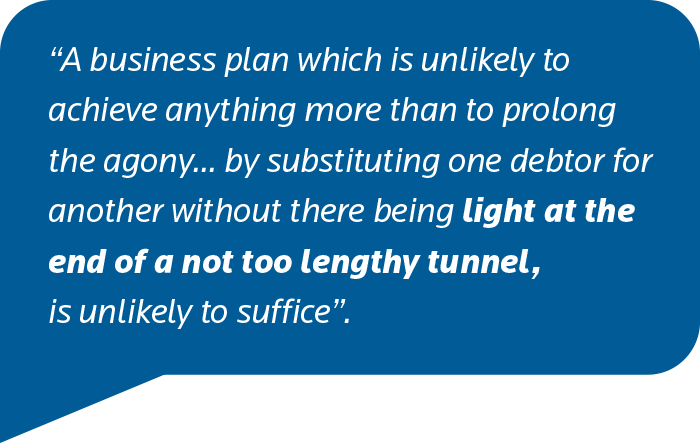 A business plan which is unlikely to achieve anything more than to prolong the agony... by substituting one debtor for another without there being light at the end of a not too lengthy tunnel, is unlikely to suffice